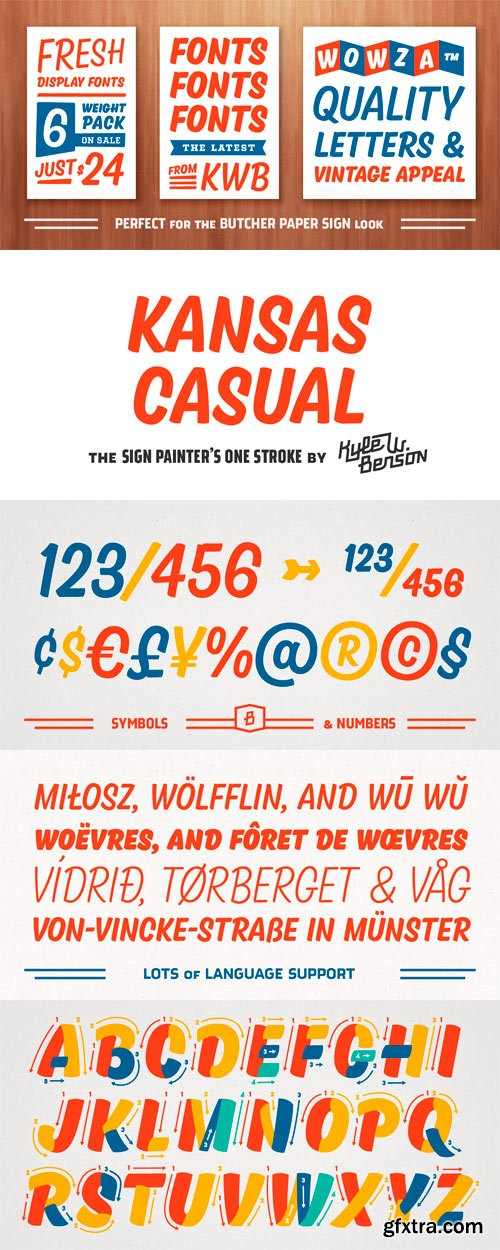Kansas Casual Font Family - 6 Fonts for $24