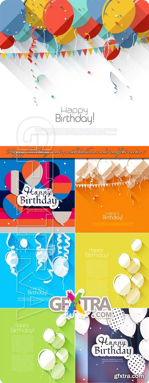 Happy Birthday card with balloons and confetti vector 7