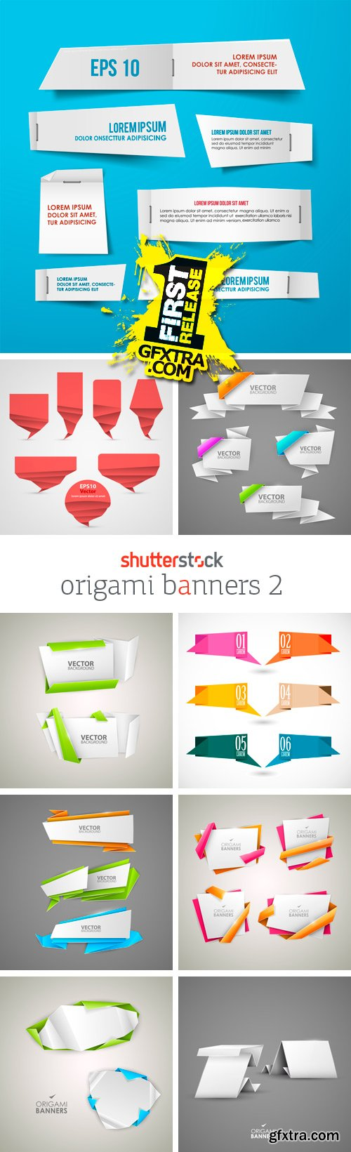 Amazing SS - Origami Banners 2, 25xEPS