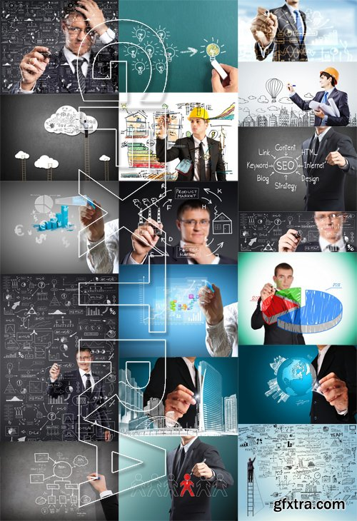 Stock Photos - Businessman Drawing, 25xJPG