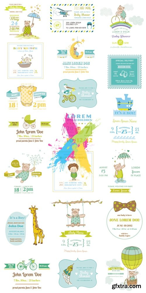 Cute Baby Shower Arrival Cards Vector