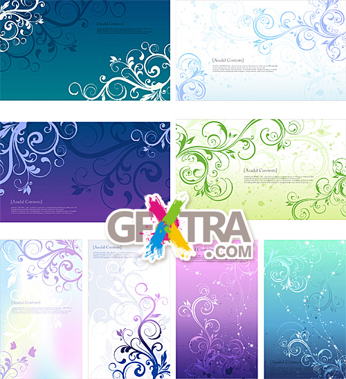 Decorative backgrounds with floral swirls