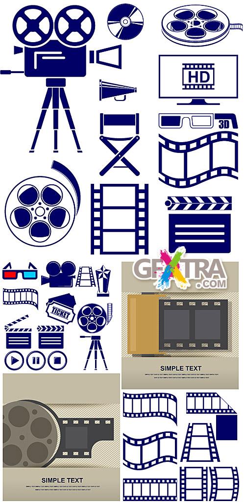 Movie and film strip icon set