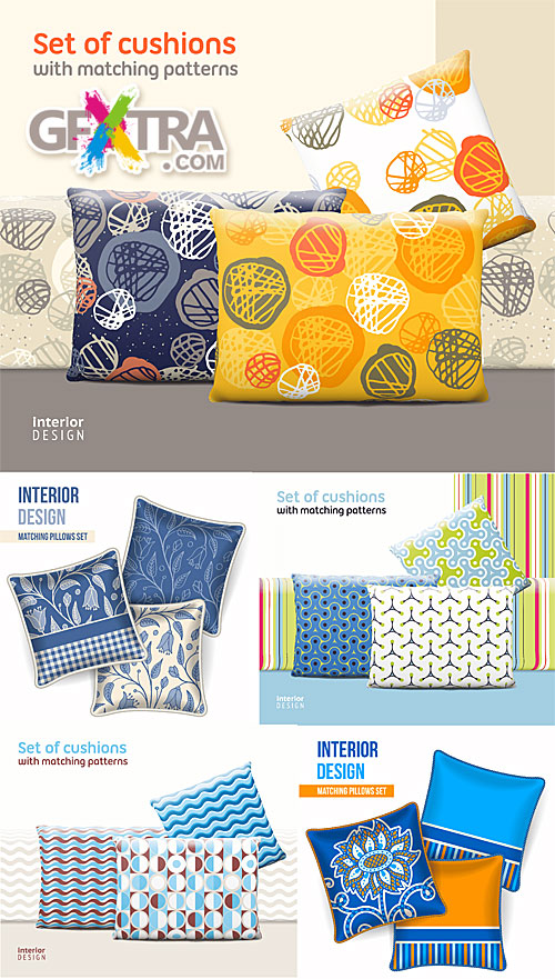 Set of cushions with matching patterns
