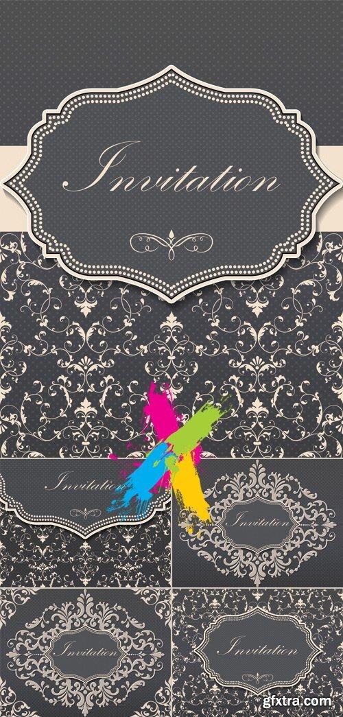 Elegant Vintage Floral Invitation Cards Vector
