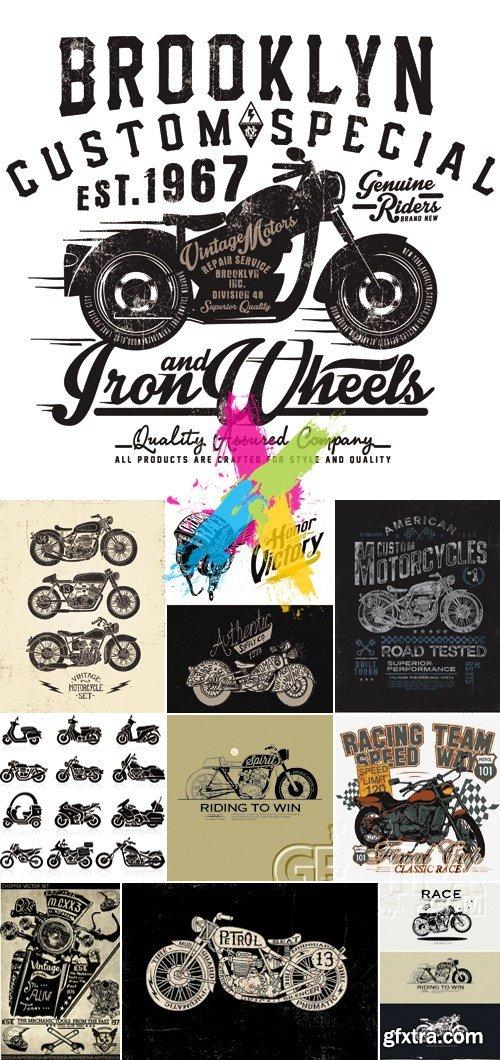 Retro Vintage Motorcycle Vector