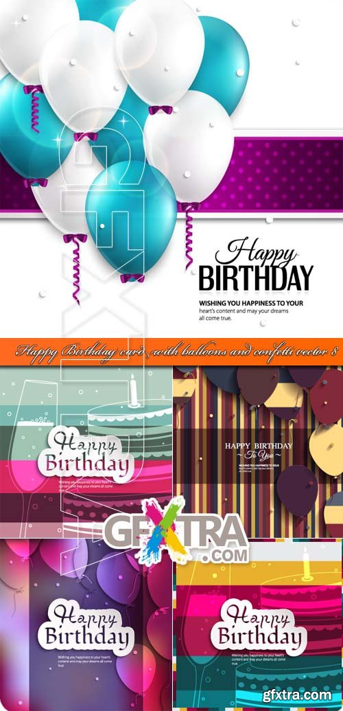 Happy Birthday card with balloons and confetti vector 8
