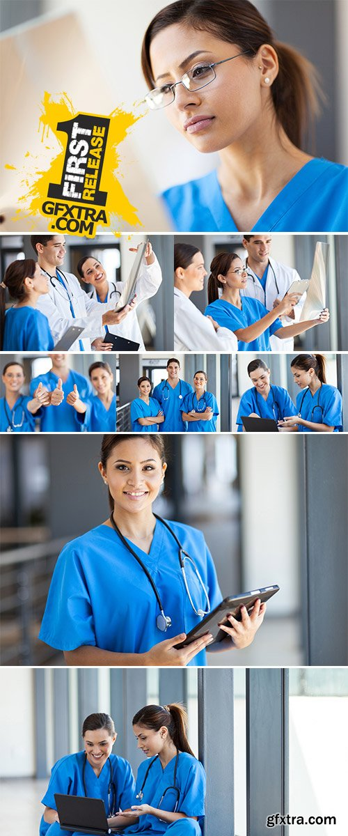 Stock Photo: Group of medical workers working together in hospital