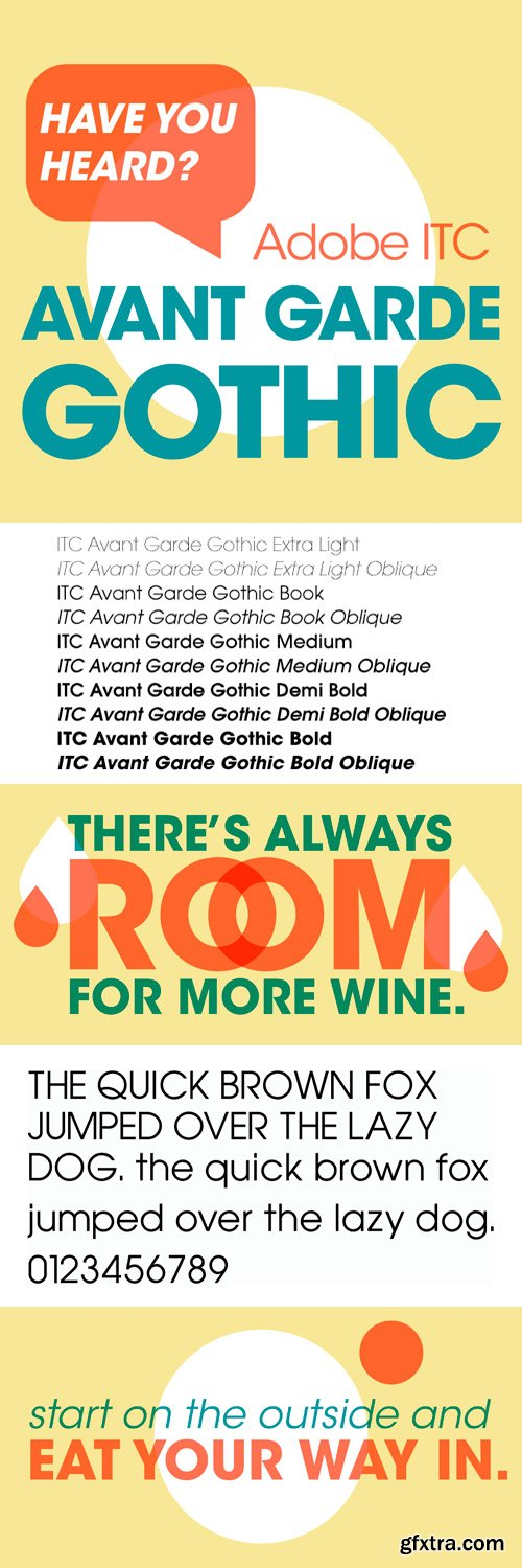 ITC Avant Garde Gothic Font Family (by Adobe) - 20 Fonts for $435