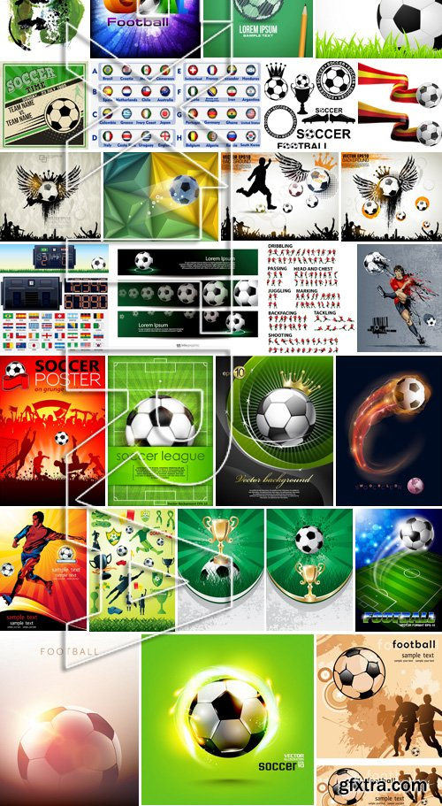 Stock Vectors - Football, soccer 5, 40xEPS