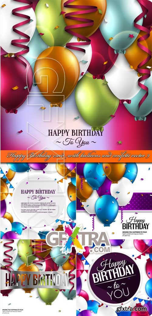 Happy Birthday card with balloons and confetti vector 9
