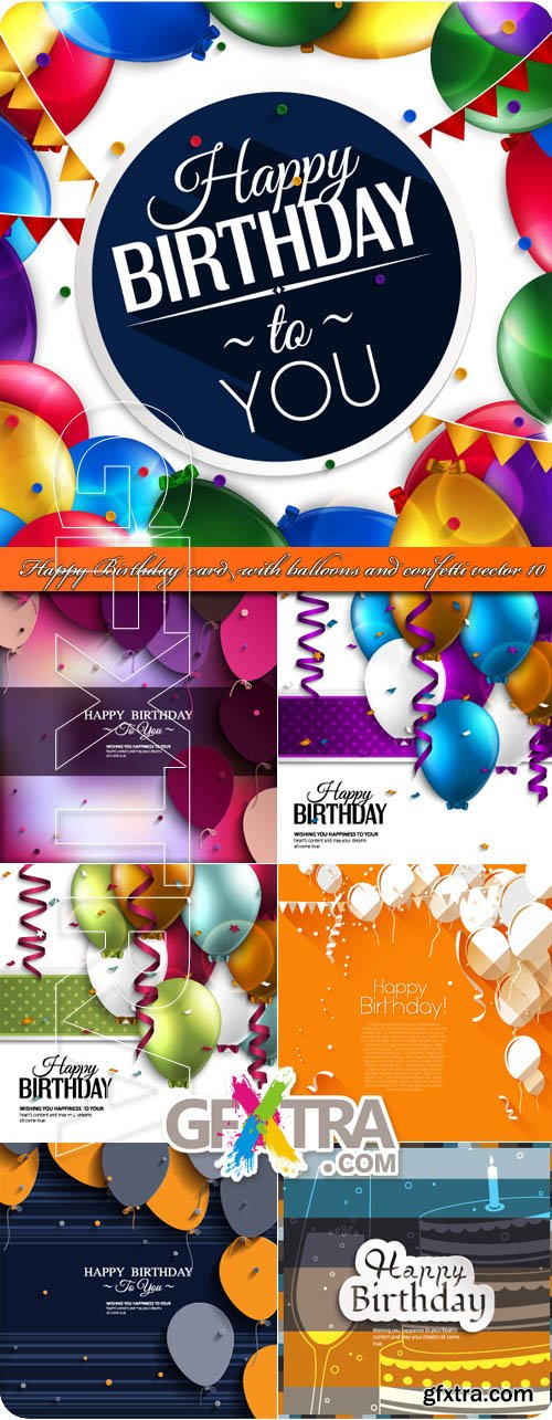 Happy Birthday card with balloons and confetti vector 10