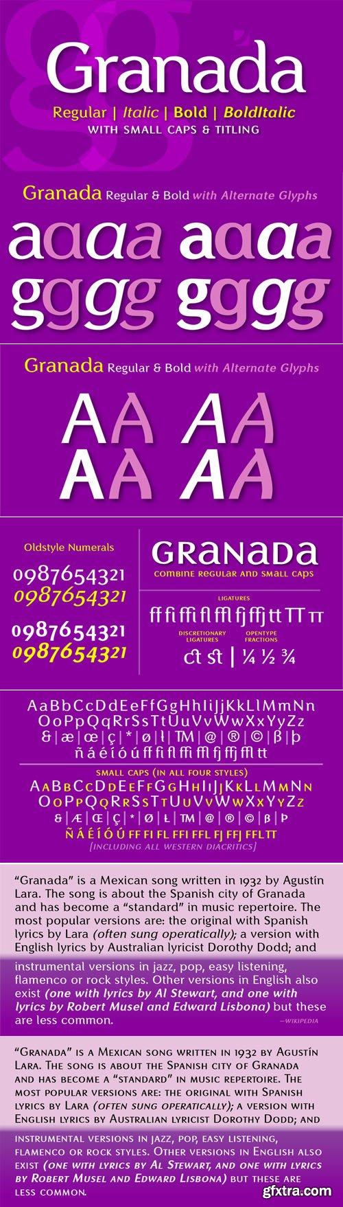 Granada - 4 Fonts $160