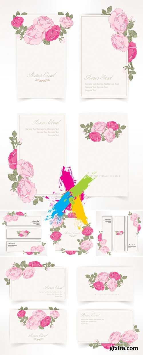Cards with Pink Flowers Vector