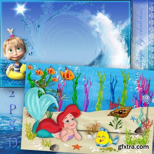 Marine photo frames for girls - Mermaid Ariel and Masha