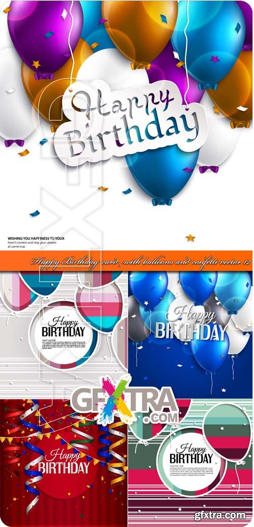 Happy Birthday card with balloons and confetti vector 12