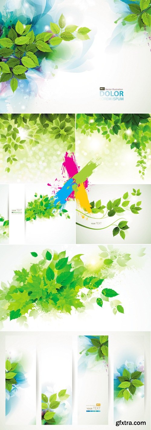 Green Leaves Backgrounds & Banners Vector