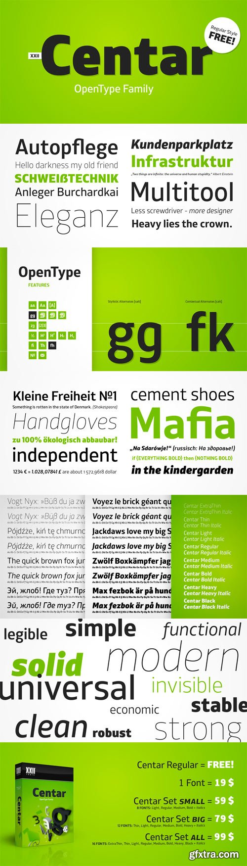 XXII Centar Font Family - 16 Fonts for $99