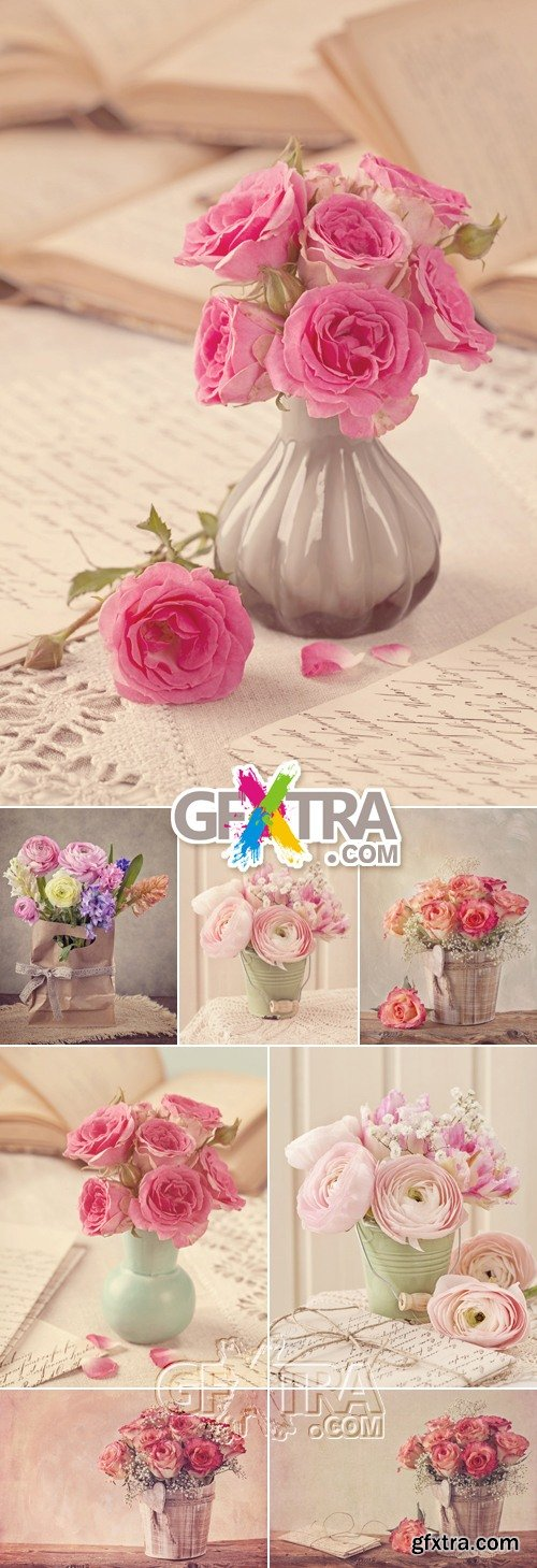 Stock Photo - Vintage Style Flowers in Vases