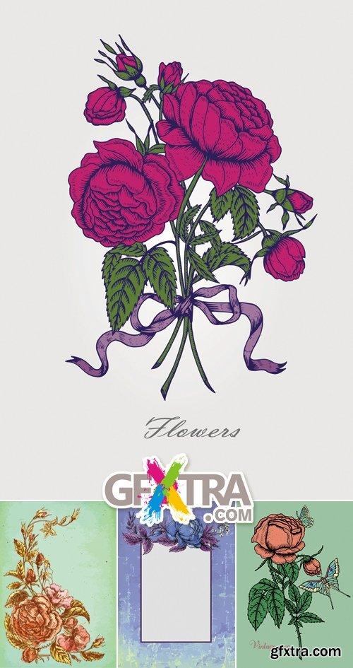 Vintage Grunge Flowers Vector