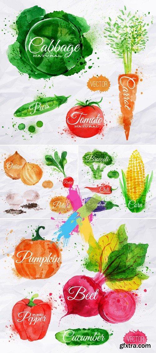 Watercolor Painted Vegetables Vector