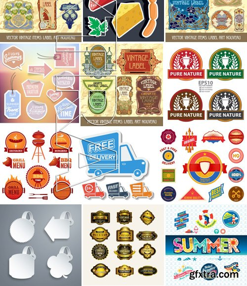 Stock Vectors - Sticker and label 2, 25xEPS