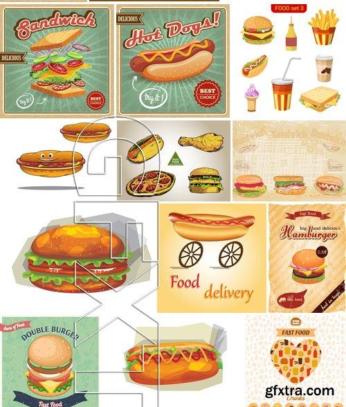 Stock Vectors - Fast Food 4, 25xEPS