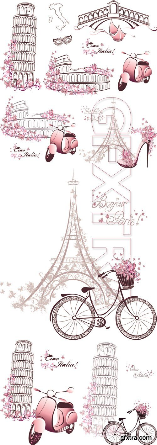France & Italy Symbols Cards Vector