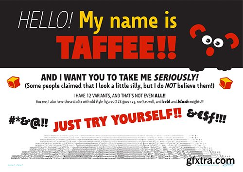 Taffe Font Family - 12 Fonts 300$