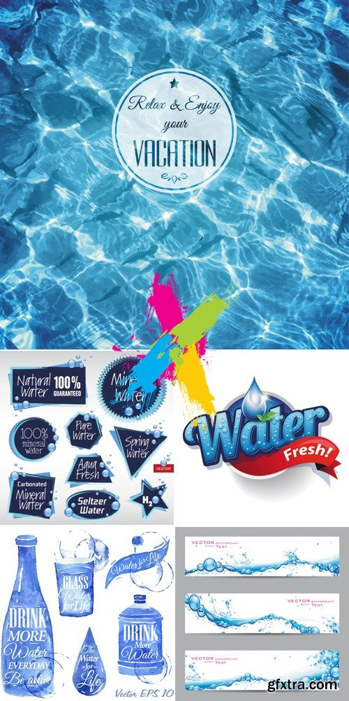 Water Labels, Banners, Backgrounds Vector