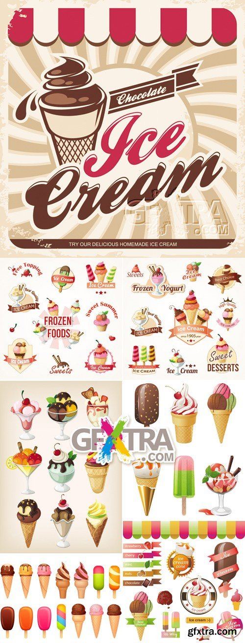 Ice Cream Icons & Backgrounds Vector