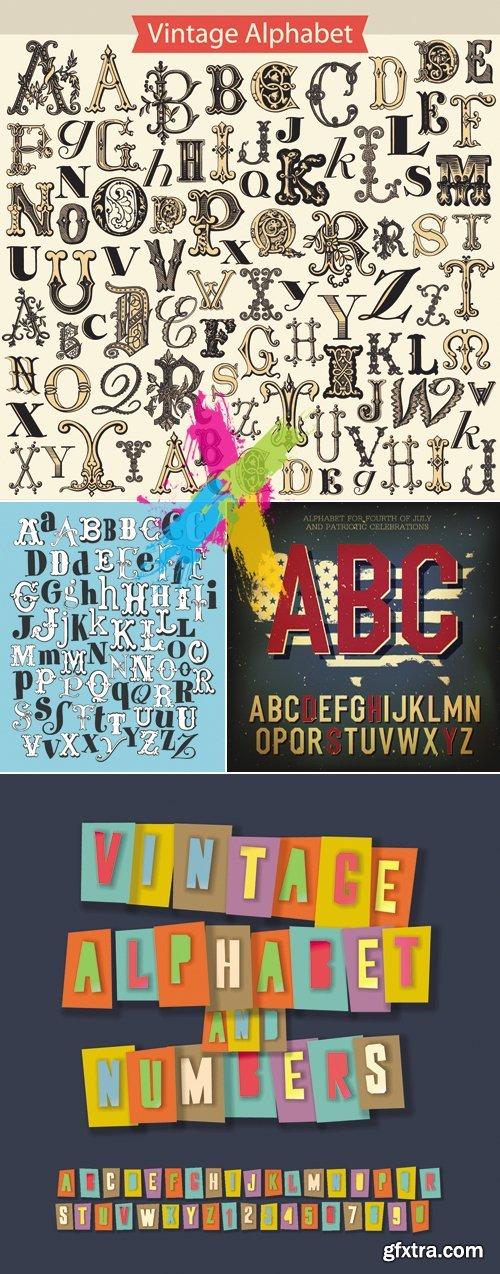 Vintage Grunge Alphabet Vector