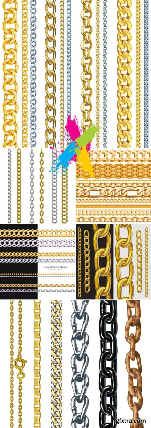 Golden & Silver Chain Borders Vector