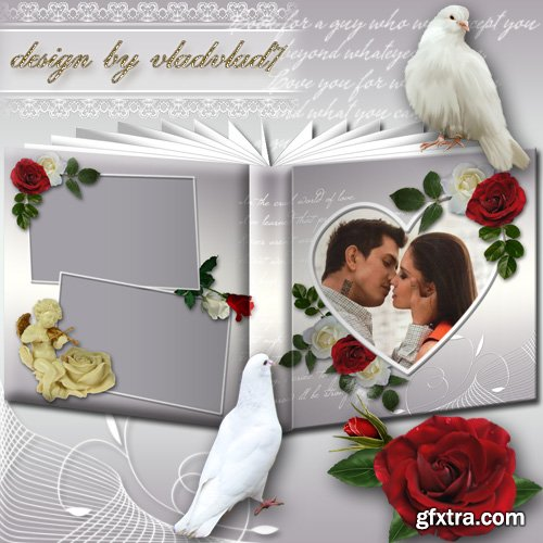 Romantic Photobook with white and red Roses