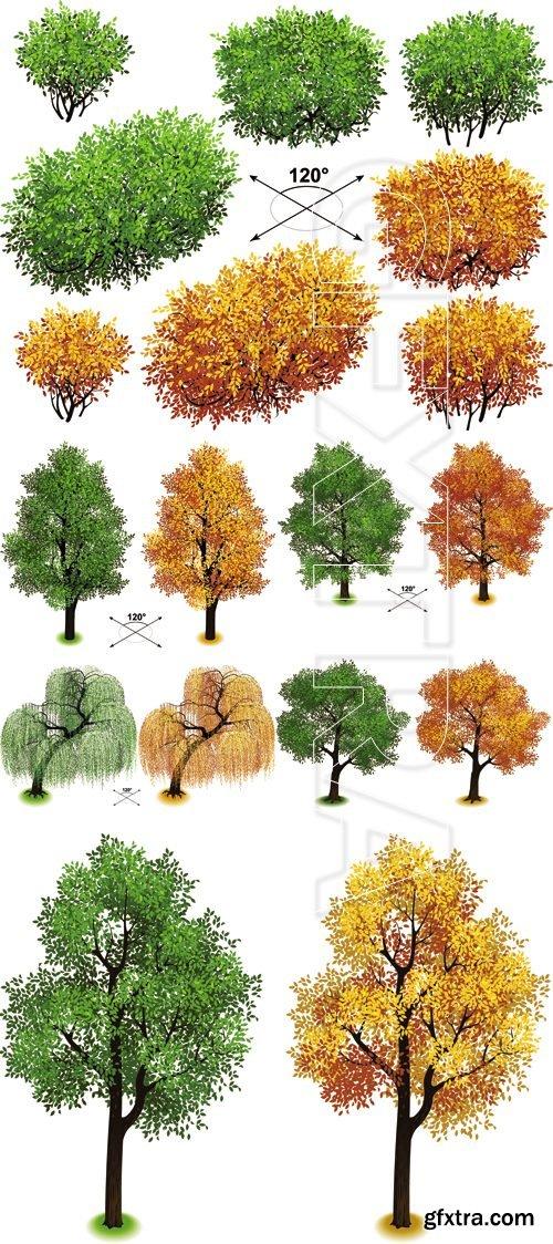 Isometric Green & Autumn Trees Vector