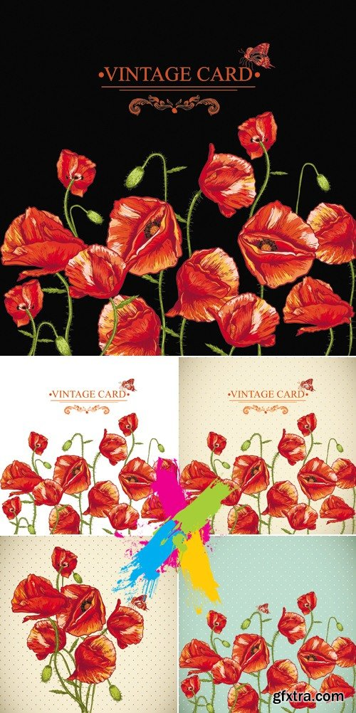 Red Poppies Cads Vector