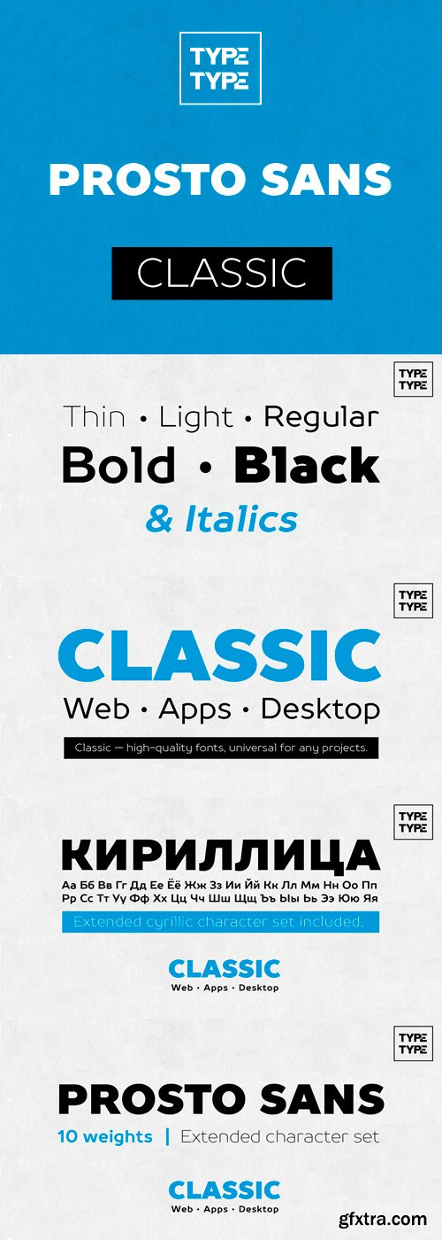 TT Prosto Sans Font Family - 10 Fonts for $80