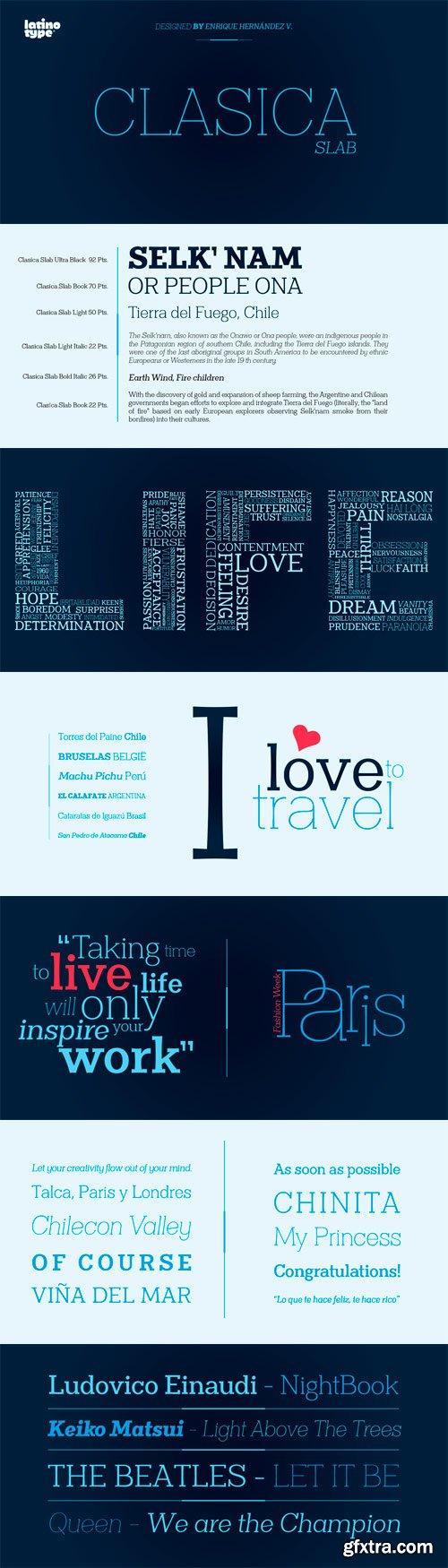 Clasica Slab Font Family - 18 Fonts for $136