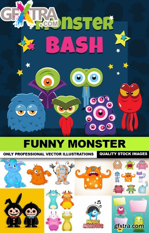 Funny Monster - 25 Vector