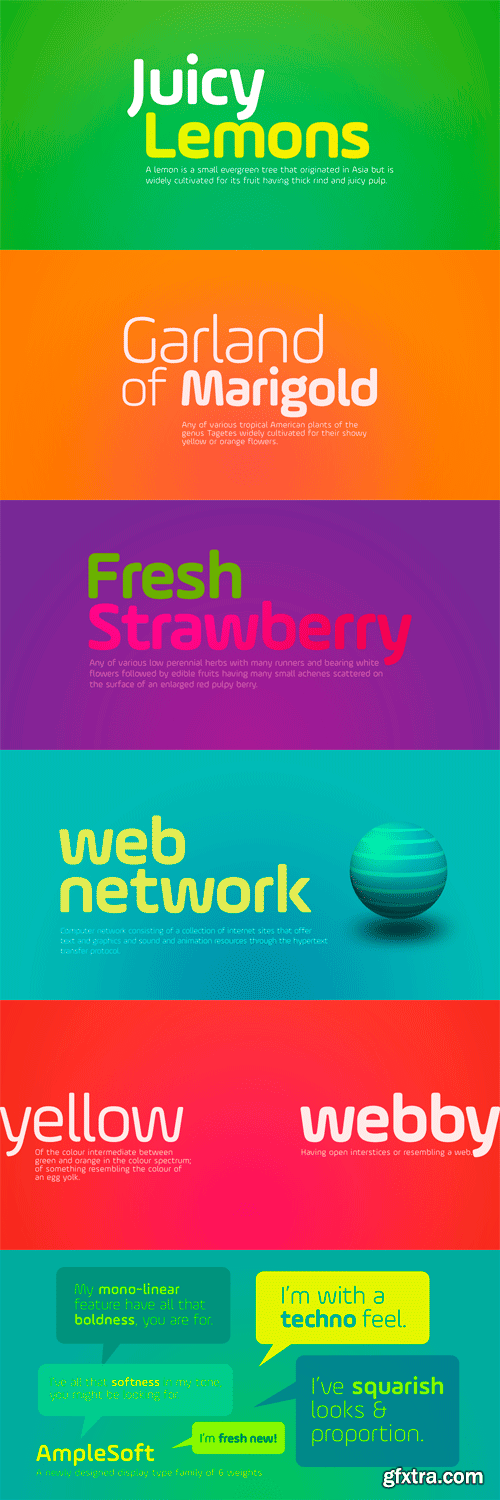 AmpleSoft Font Family - 6 Fonts for $300