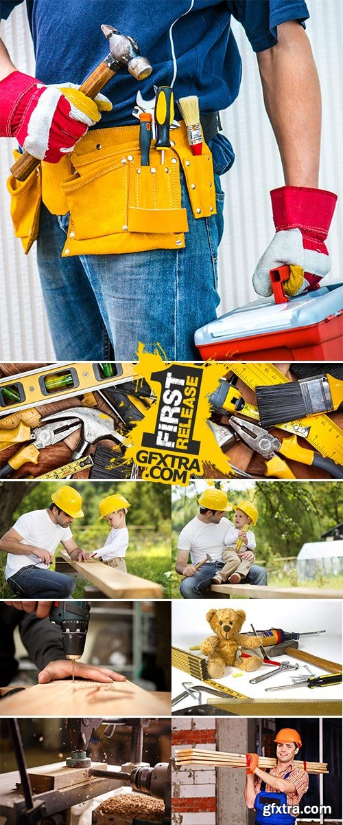 Stock Photo: Tools and construction and construction