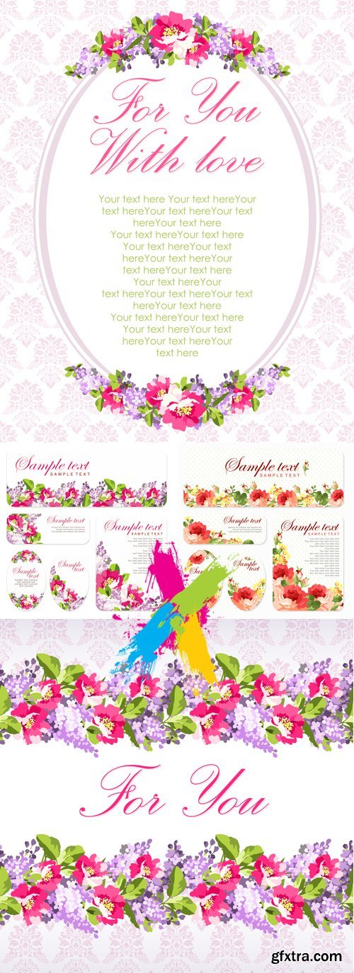 Pink & Violet Floral Banners & Cards Vector