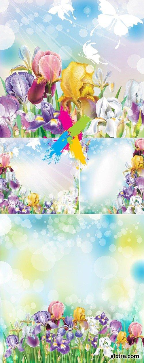 Summer Flowers Backgrounds Vector