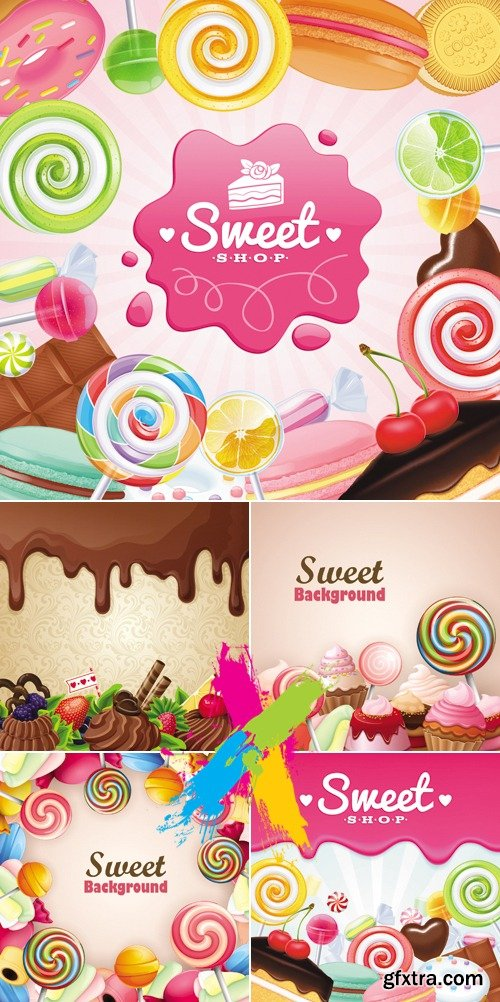 Sweets, Candies Backgrounds Vector