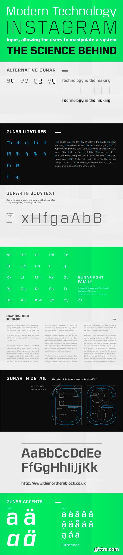 Gunar Font Family - 18 Fonts for $269