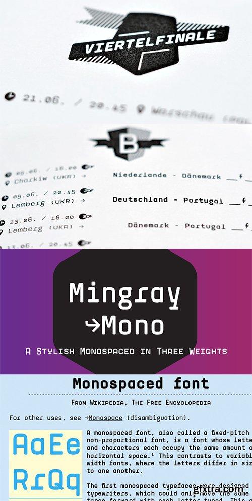 Mingray Mono Font Family - 4 Fonts $156