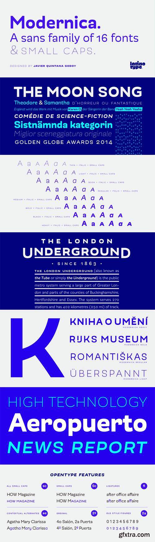 Modernica Font Family - 16 Fonts for $189
