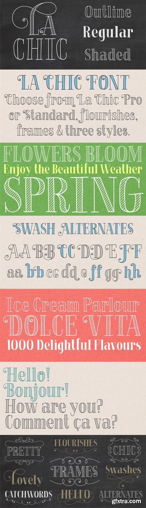 La Chic Font Family - 12 Fonts for $221