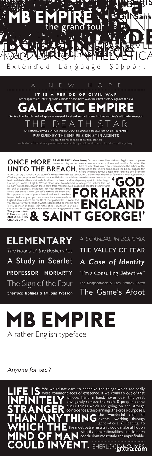 MB Empire Font Family - 12 Fonts for $100