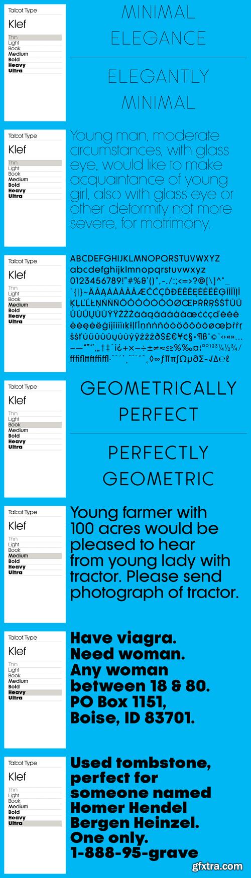 Klef Font Family - 7 Fonts for $129